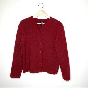 Eileen Fisher Wool Cashmere Boucle Red Cardigan S